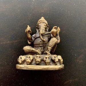 "Lord Ganesh Antique Brass  Statue 2""H."